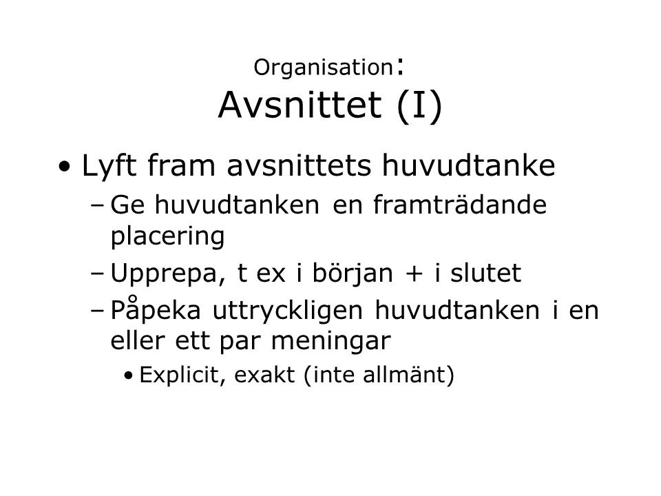 Organisation: Avsnittet (I)
