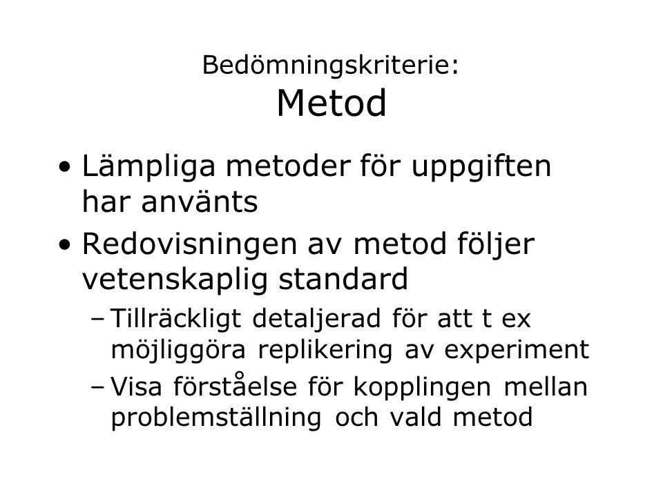 Bedömningskriterie: Metod