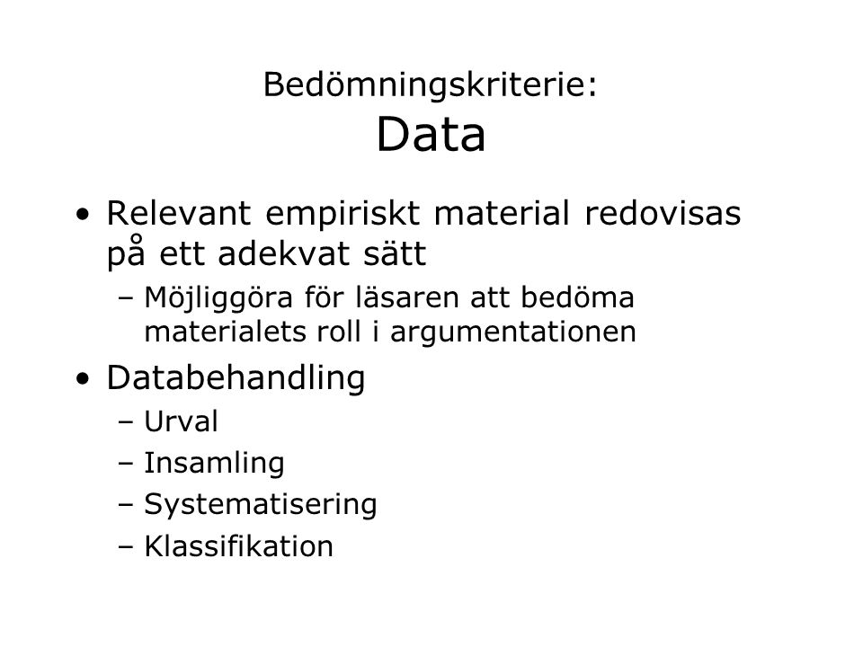 Bedömningskriterie: Data