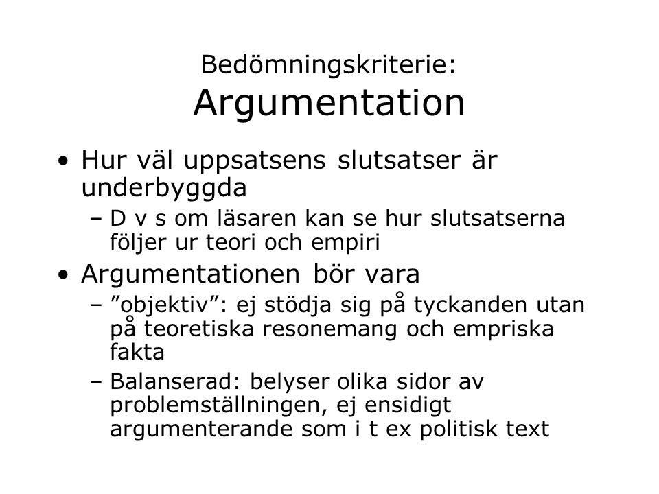 Bedömningskriterie: Argumentation