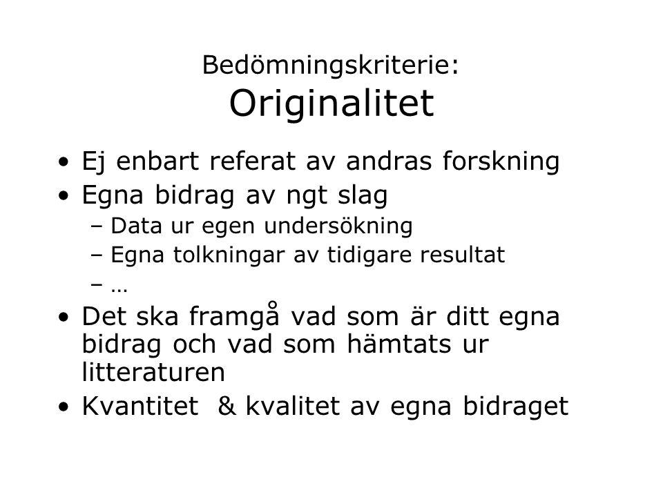 Bedömningskriterie: Originalitet