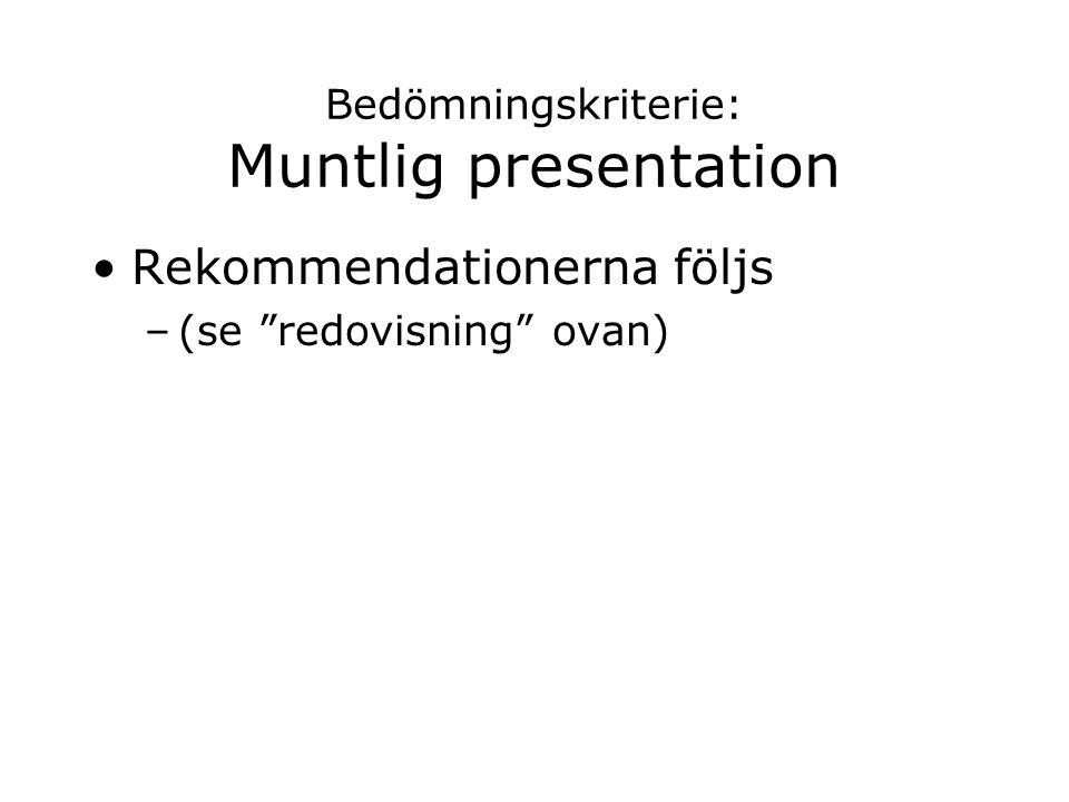 Bedömningskriterie: Muntlig presentation