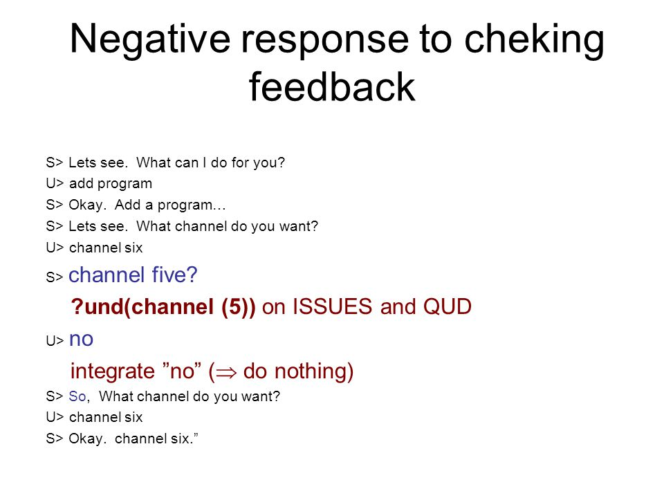 Negative response to cheking feedback