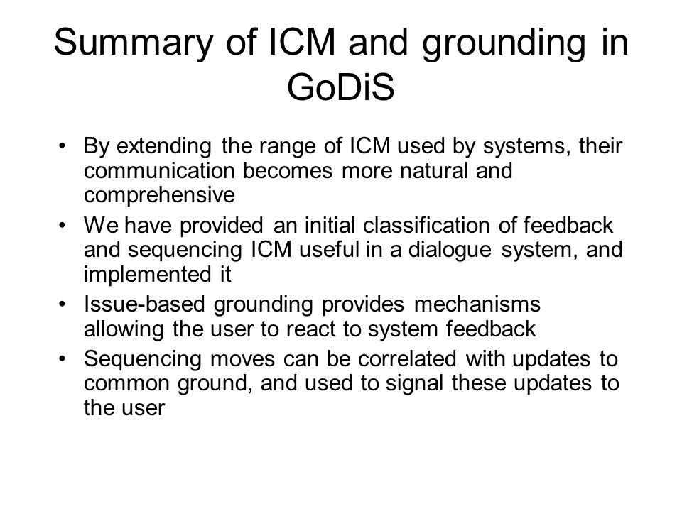 Summary of ICM and grounding in GoDiS