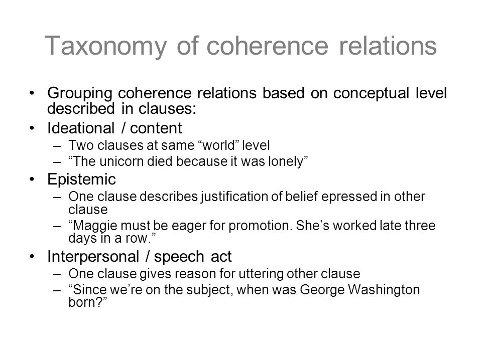 Taxonomy of coherence relations