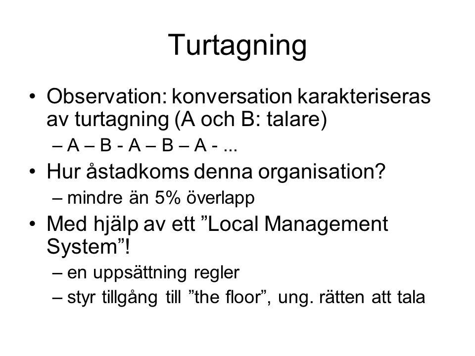 Turtagning Observation: konversation karakteriseras av turtagning (A och B: talare) A – B - A – B – A - ...