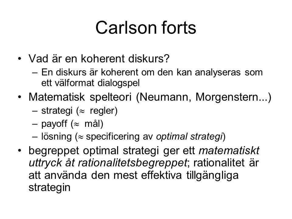 Carlson forts Vad är en koherent diskurs