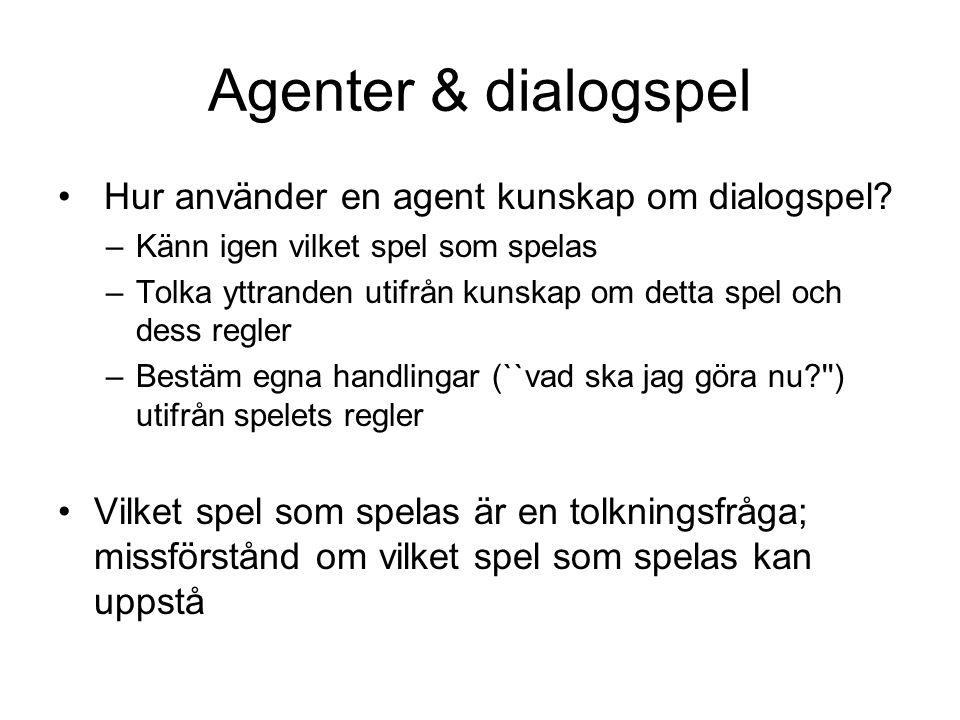 Agenter & dialogspel Hur använder en agent kunskap om dialogspel