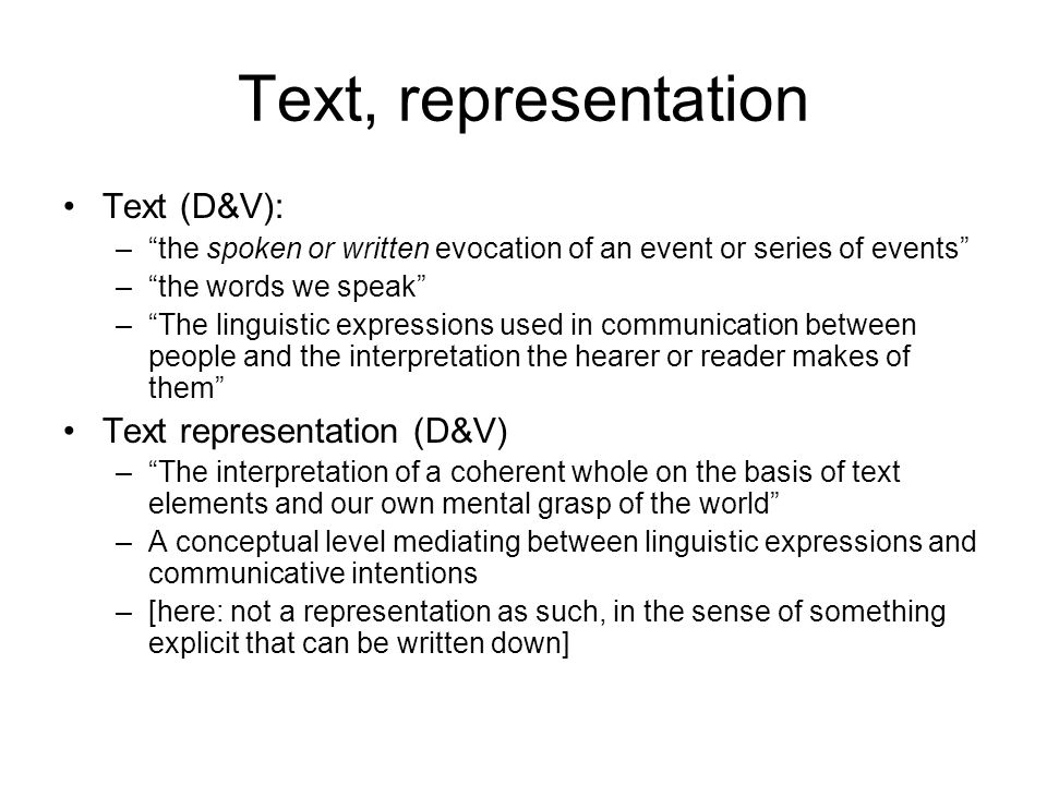 Text, representation Text (D&V): Text representation (D&V)