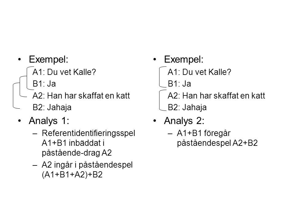 Exempel: Analys 1: Exempel: Analys 2: A1: Du vet Kalle B1: Ja
