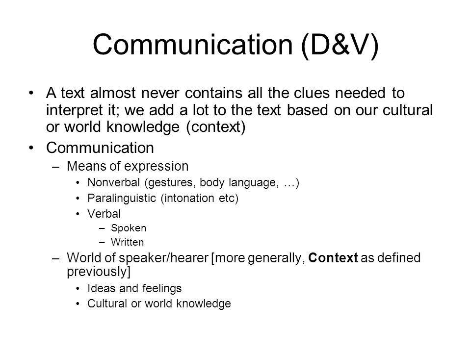 Communication (D&V)