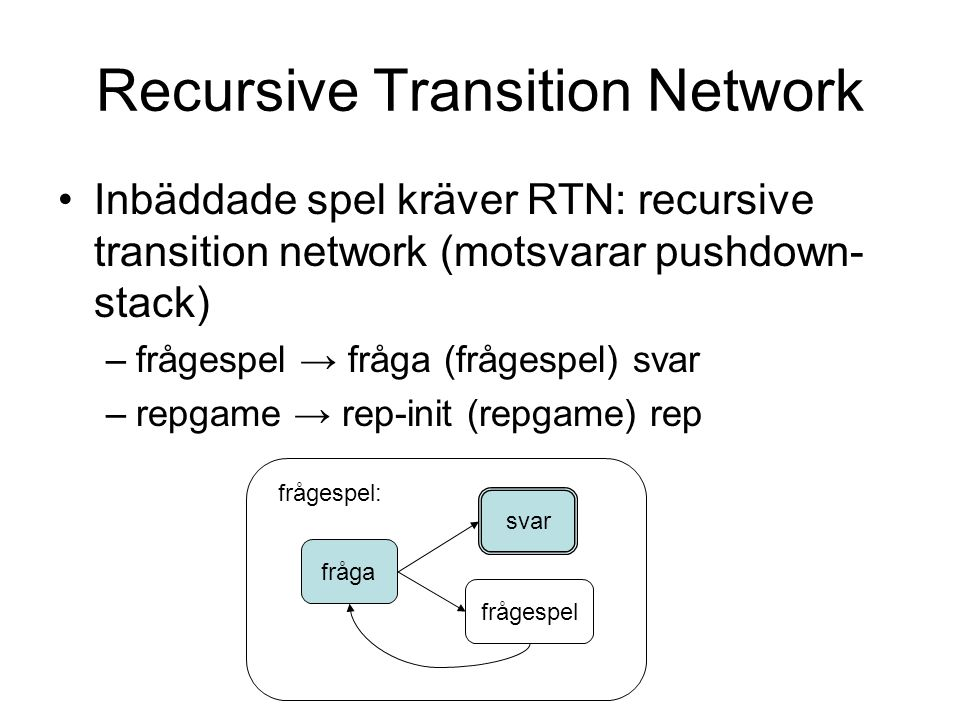 Recursive Transition Network