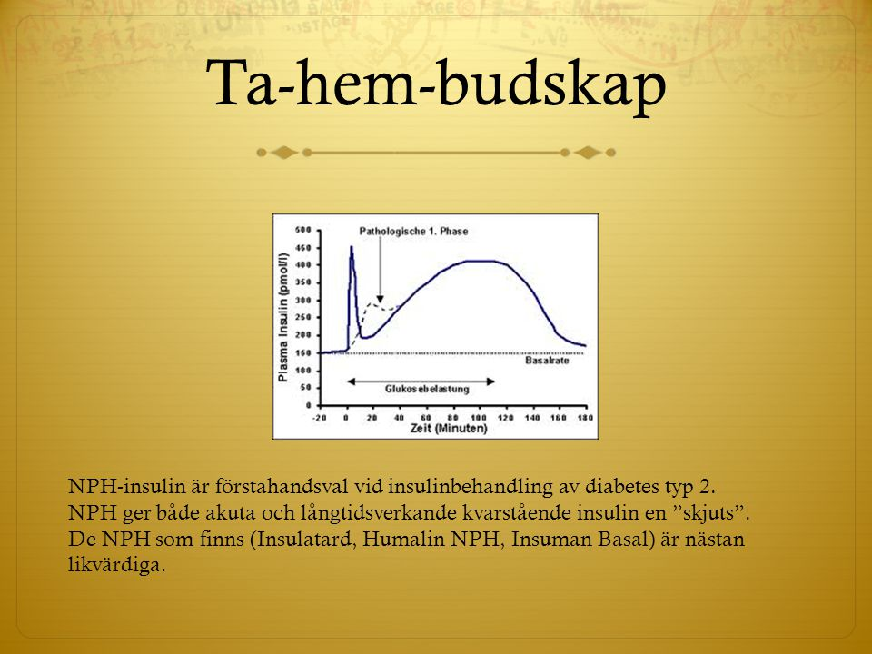 Ta-hem-budskap NPH-insulin är förstahandsval vid insulinbehandling av diabetes typ 2.