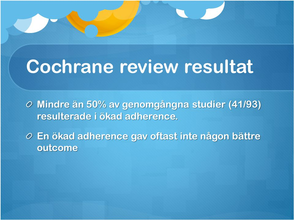 Cochrane review resultat