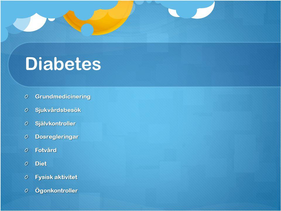 Diabetes Grundmedicinering Sjukvårdsbesök Självkontroller