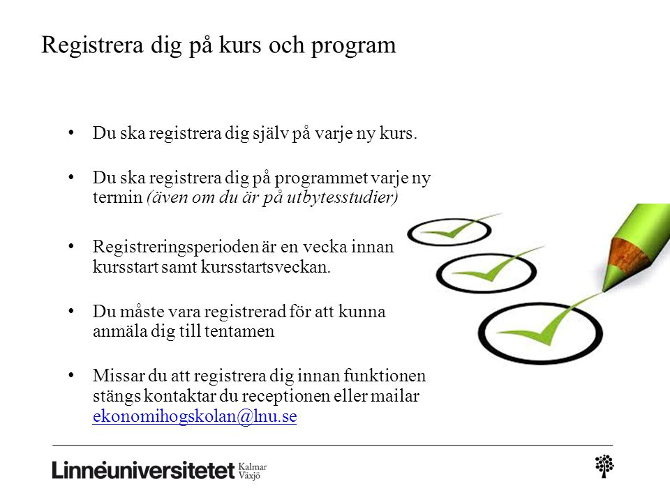 Registrera dig på kurs och program