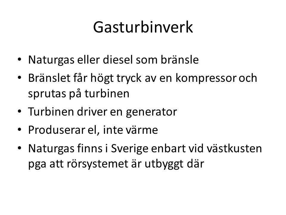 Gasturbinverk Naturgas eller diesel som bränsle