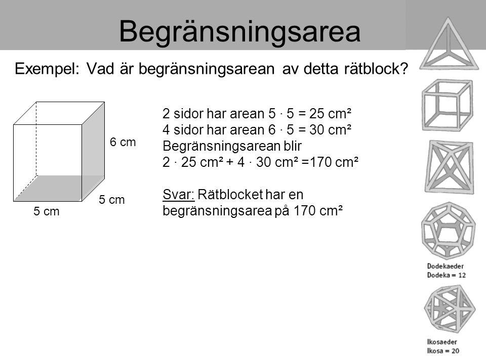 Begränsningsarea Exempel: Vad är begränsningsarean av detta rätblock