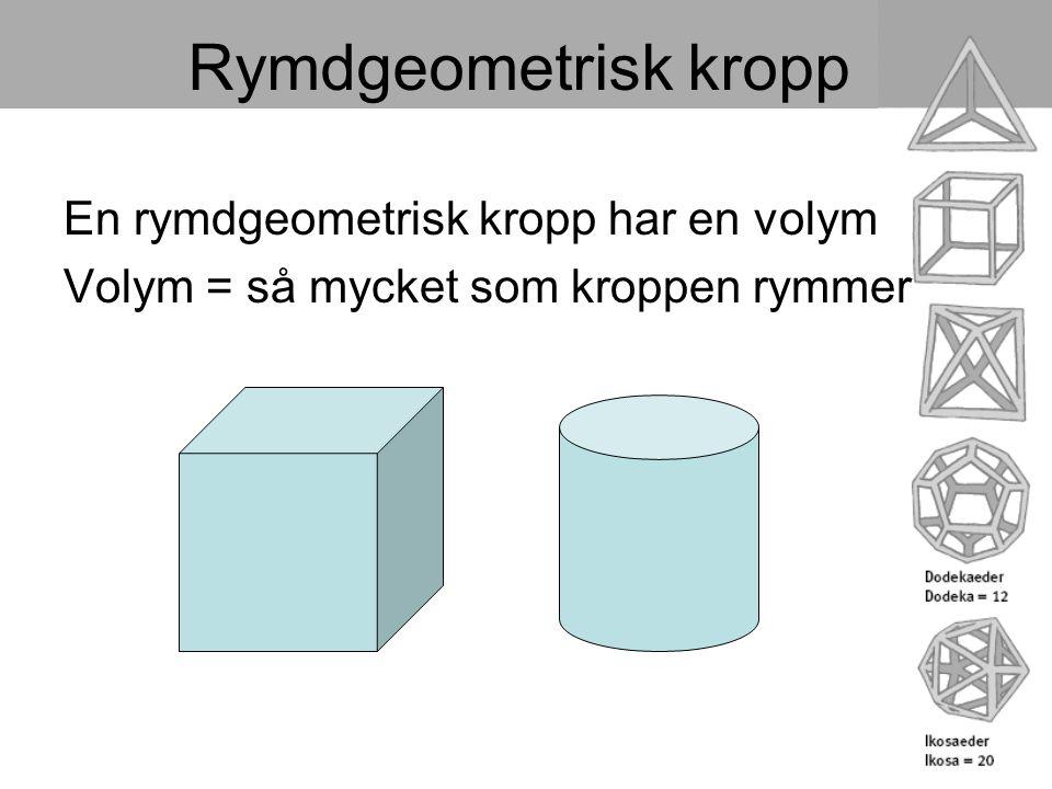 Rymdgeometrisk kropp En rymdgeometrisk kropp har en volym