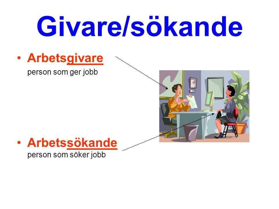 Givare/sökande Arbetsgivare Arbetssökande person som söker jobb