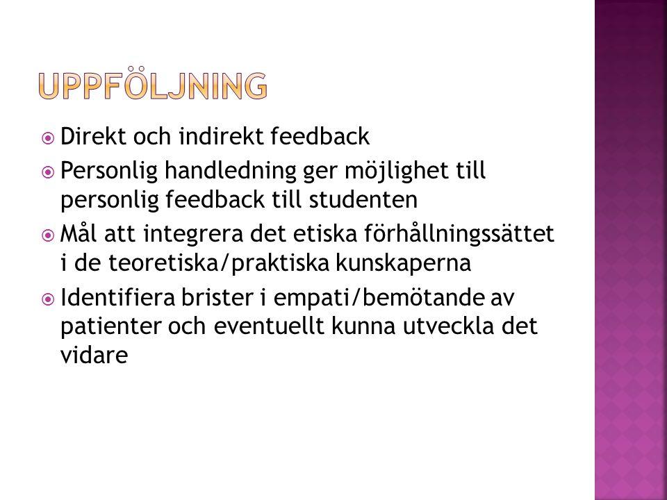 Uppföljning Direkt och indirekt feedback