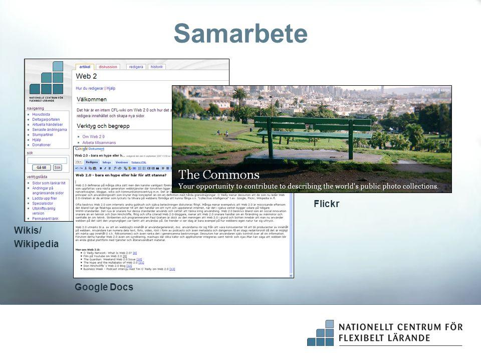 Samarbete Flickr Wikis/ Wikipedia Google Docs