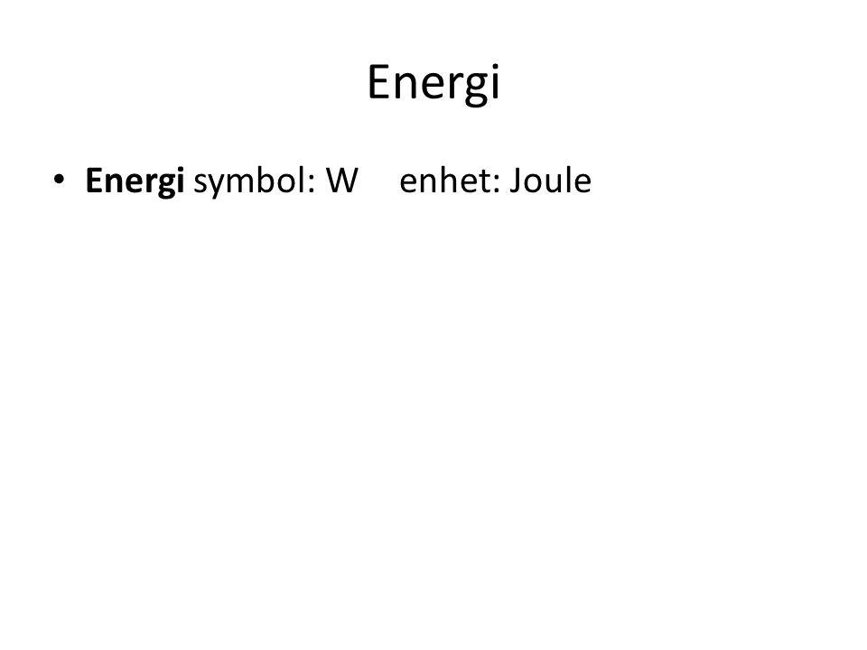 Energi Energi symbol: W enhet: Joule