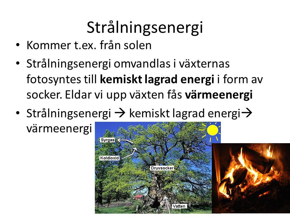 Strålningsenergi Kommer t.ex. från solen