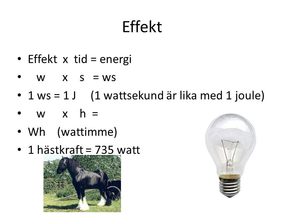 Effekt Effekt x tid = energi w x s = ws