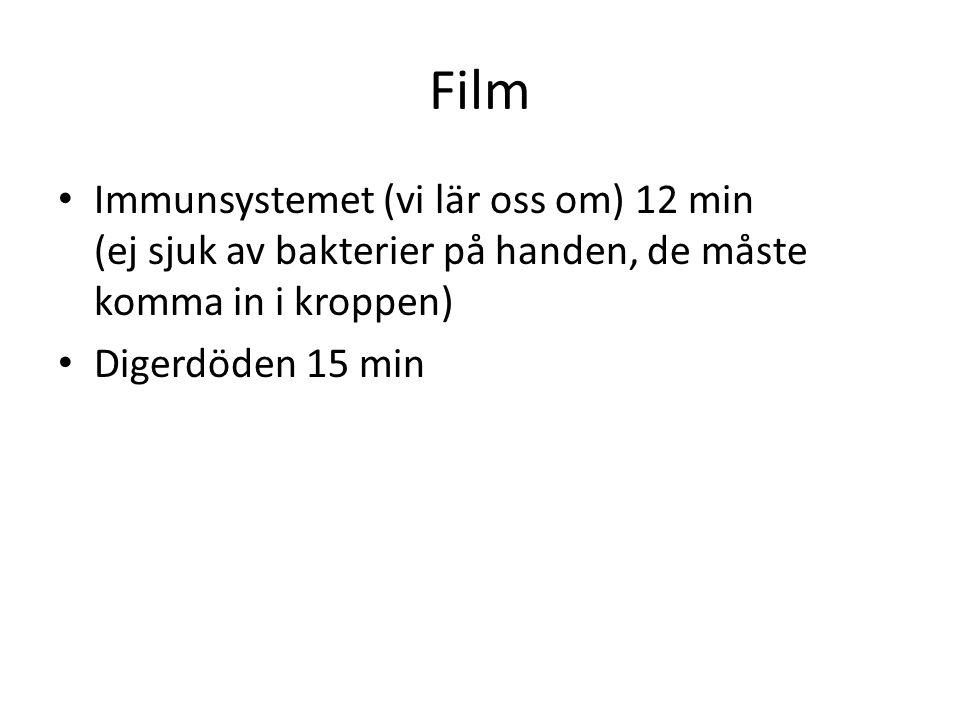 Film Immunsystemet (vi lär oss om) 12 min (ej sjuk av bakterier på handen, de måste komma in i kroppen)