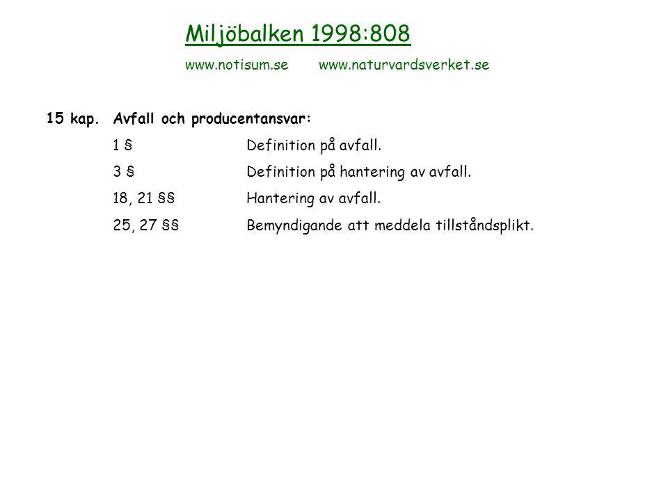 Miljöbalken 1998:808 www.notisum.se www.naturvardsverket.se