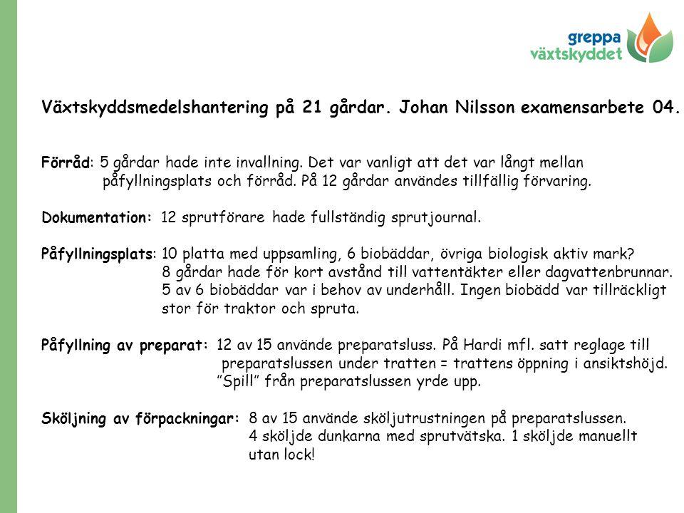 Växtskyddsmedelshantering på 21 gårdar. Johan Nilsson examensarbete 04.
