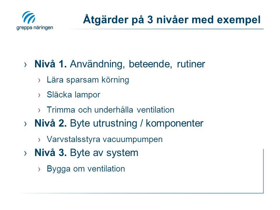 Åtgärder på 3 nivåer med exempel