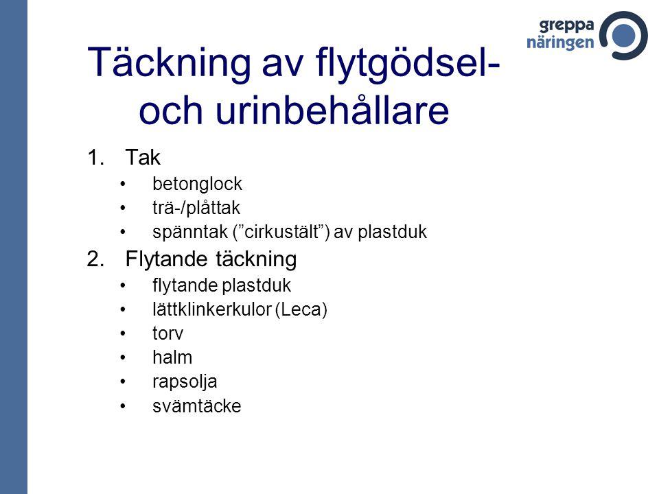 Täckning av flytgödsel- och urinbehållare