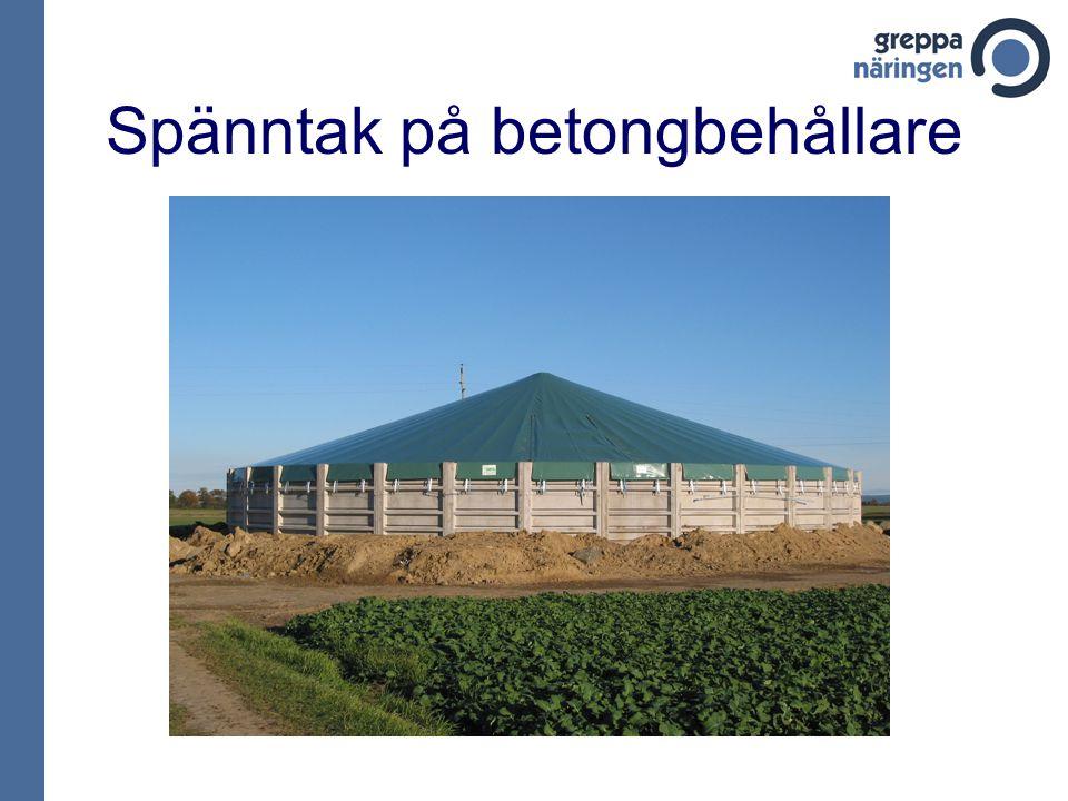 Spänntak på betongbehållare