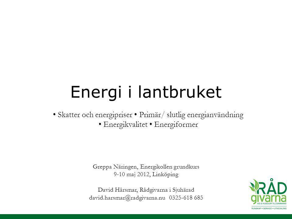 Energi i lantbruket • Skatter och energipriser • Primär/ slutlig energianvändning. • Energikvalitet • Energiformer.
