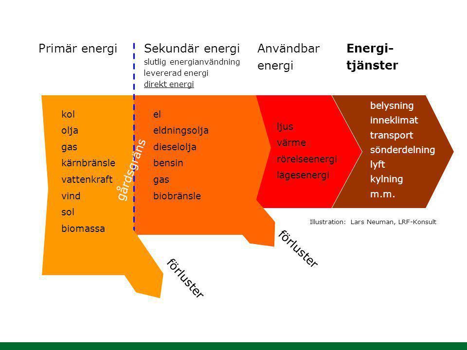 Primär energi Sekundär energi Användbar energi Energi- tjänster