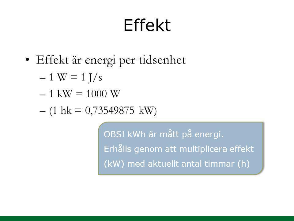 Effekt Effekt är energi per tidsenhet 1 W = 1 J/s 1 kW = 1000 W