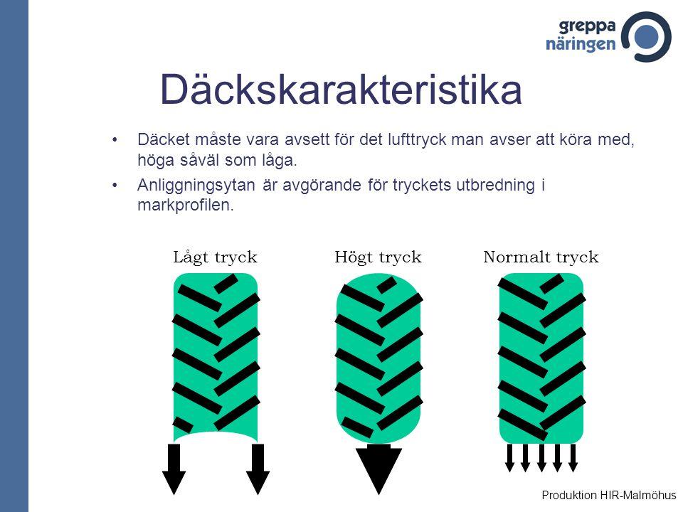 Däckskarakteristika Däcket måste vara avsett för det lufttryck man avser att köra med, höga såväl som låga.