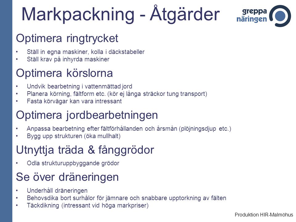Markpackning - Åtgärder