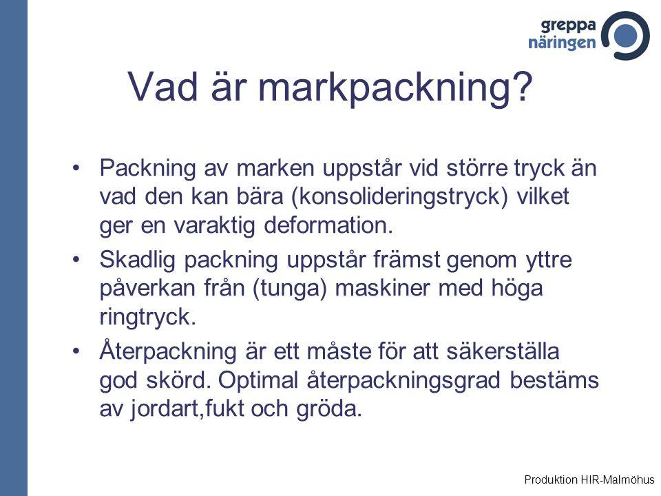 Vad är markpackning Packning av marken uppstår vid större tryck än vad den kan bära (konsolideringstryck) vilket ger en varaktig deformation.