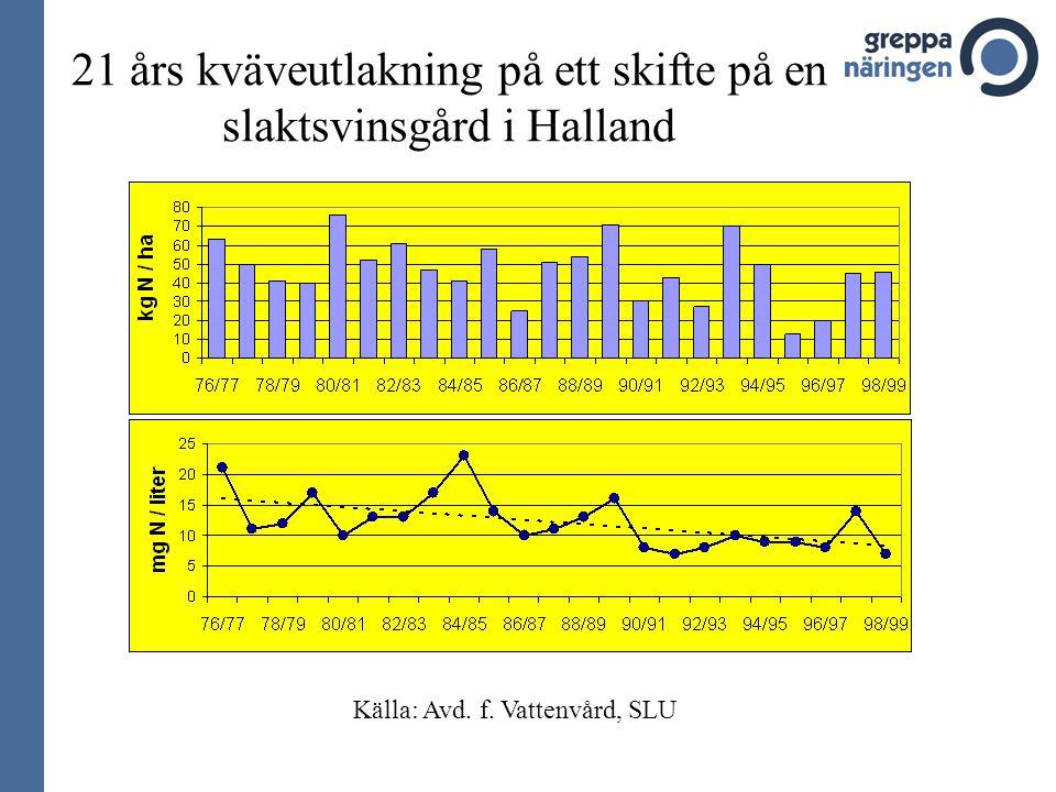 21 års kväveutlakning på ett skifte på en slaktsvinsgård i Halland