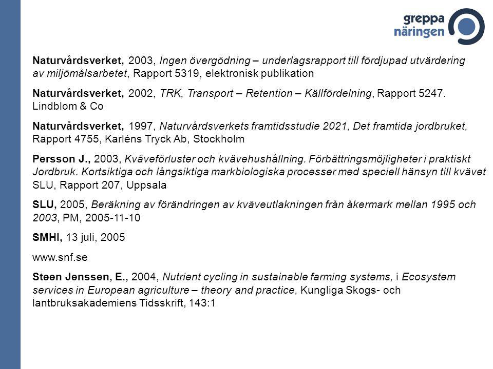 Naturvårdsverket, 2003, Ingen övergödning – underlagsrapport till fördjupad utvärdering