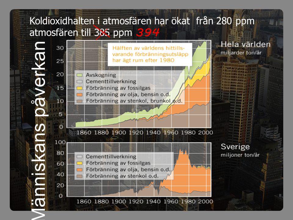 Koldioxidhalten i atmosfären har ökat från 280 ppm atmosfären till 385 ppm