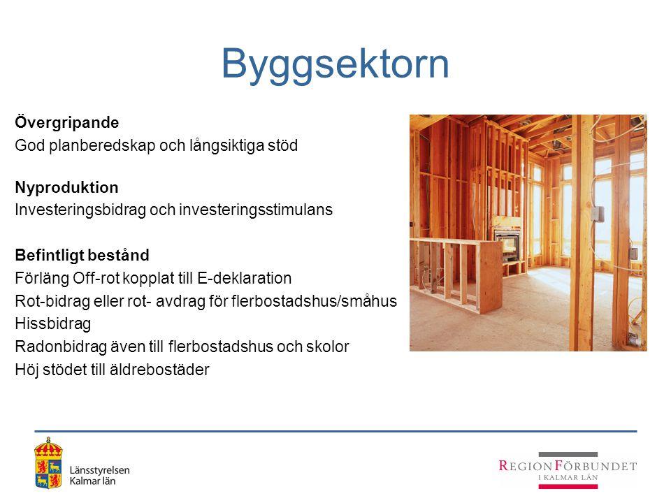 Byggsektorn Övergripande God planberedskap och långsiktiga stöd