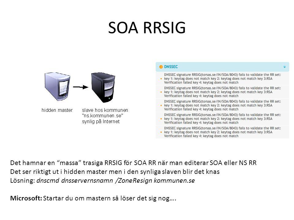 SOA RRSIG Det hamnar en massa trasiga RRSIG för SOA RR när man editerar SOA eller NS RR.