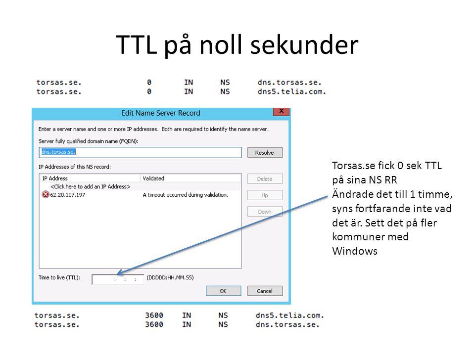 TTL på noll sekunder Torsas.se fick 0 sek TTL på sina NS RR
