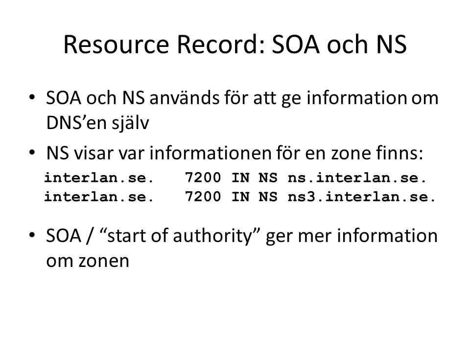Resource Record: SOA och NS