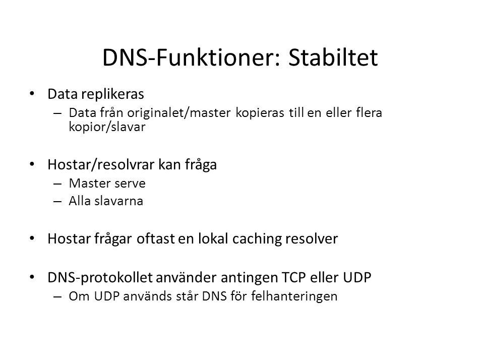 DNS-Funktioner: Stabiltet