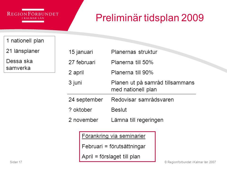 Preliminär tidsplan 2009 1 nationell plan 21 länsplaner